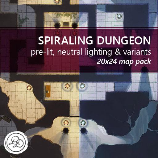 Spiraling Dungeon Battlemaps