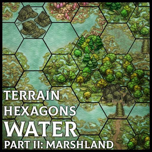 Terrain Hexagons: Water (Marshland)