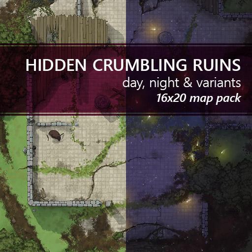 Hidden Crumbling Ruins Battlemaps