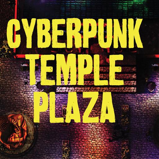 Cyberpunk Temple Plaza