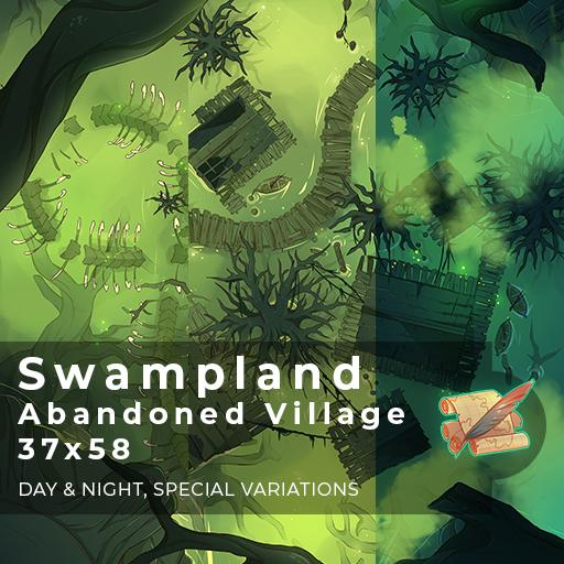 Swampland Abandoned Village Battlemap