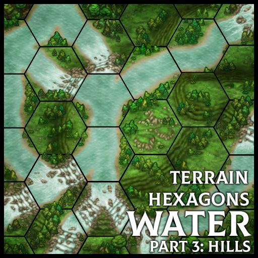 Terrain Hexagons: Water (Hills)