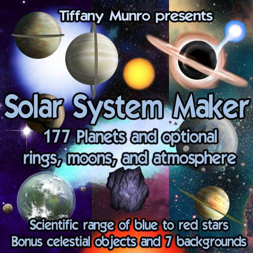 Solar System Maker with Planets, Suns, Moons, Rings, Starfield, and Asteroids