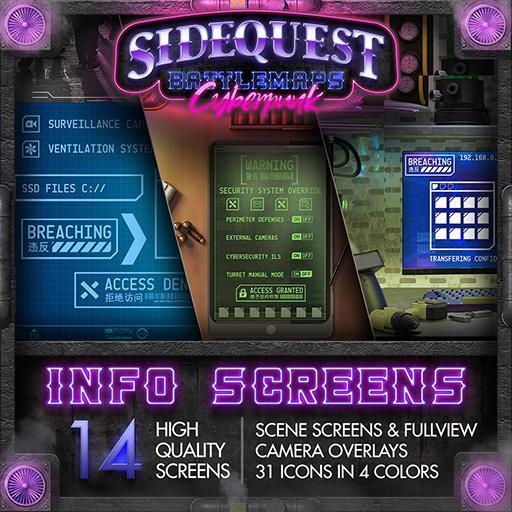 Sidequest Battlemaps: Cyberpunk Info Screens