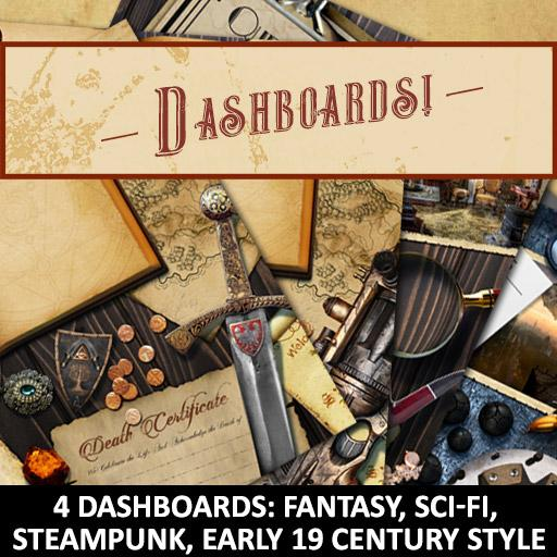 Fantasy, Steampunk, Sci-Fi, and Victorian Style Dashboards!