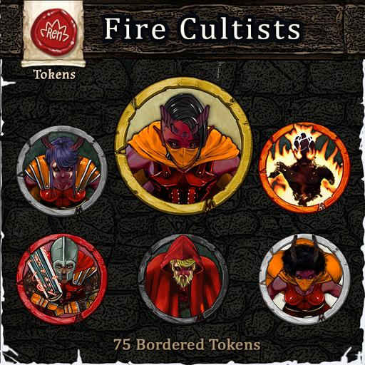Heroes & Villains! Fire Cultists - Bordered Tokens