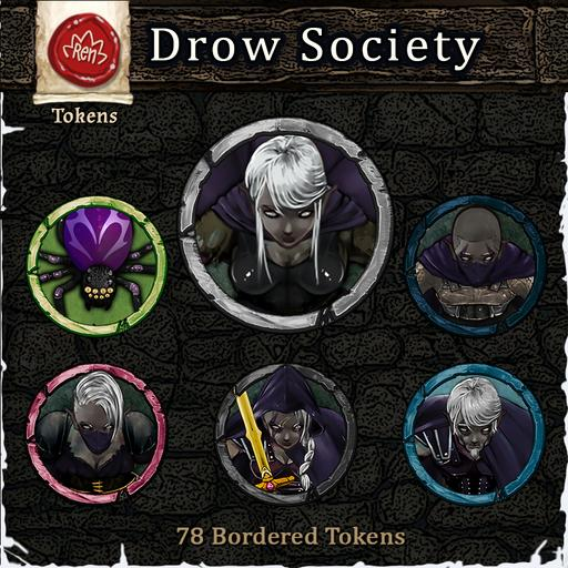 Heroes & Villains! Drow Society - Bordered Tokens