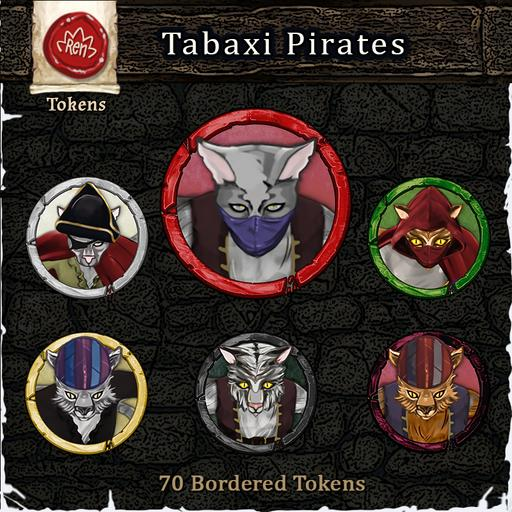 Heroes & Villains! Tabaxi Pirates! - Bordered Tokens