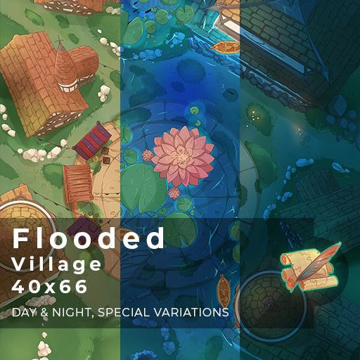 Flooded Village Battlemap