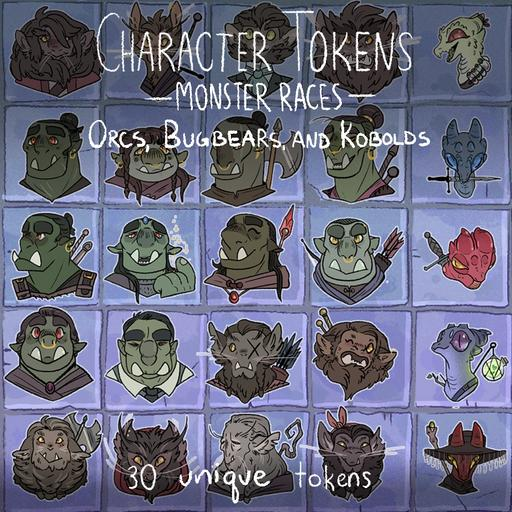Monster Races Character Tokens- Orcs, Bugbears and Kobolds