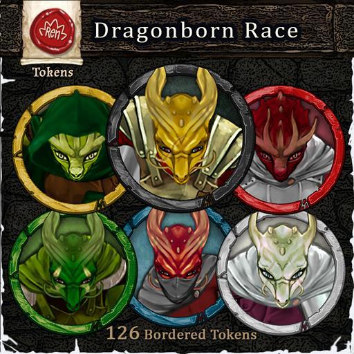 Heroes & Villains! Dragonborn Race - Bordered Tokens
