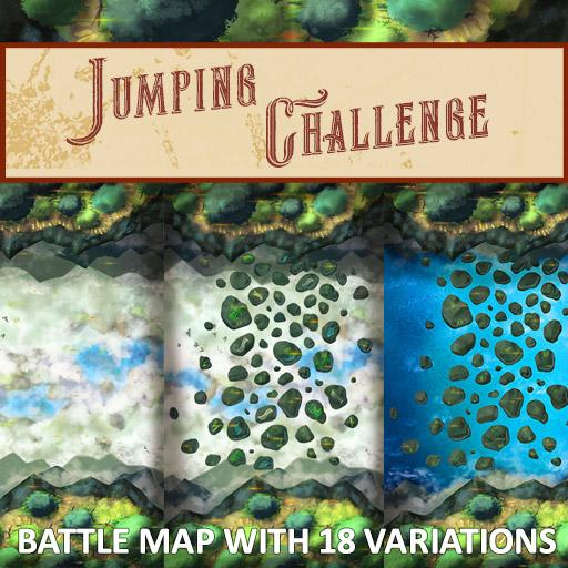 Jumping Challenge with Floating Rocks Battle Map