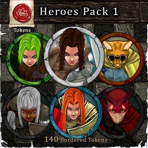 Heroes & Villains! Heroes Pack 1 - Bordered Tokens