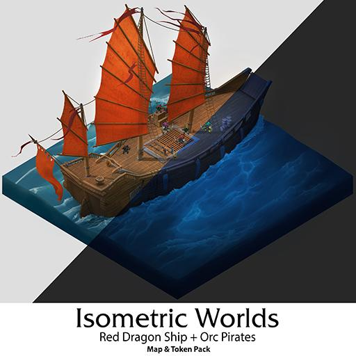 Red Dragon Ship + Pirate Orcs - Isometric Map Pack