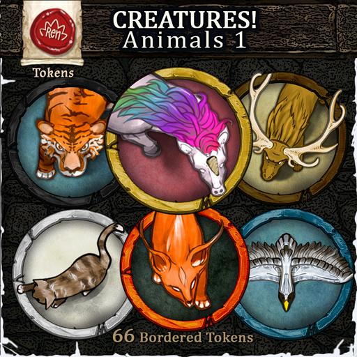Creatures! Animals 1 - Bordered Tokens