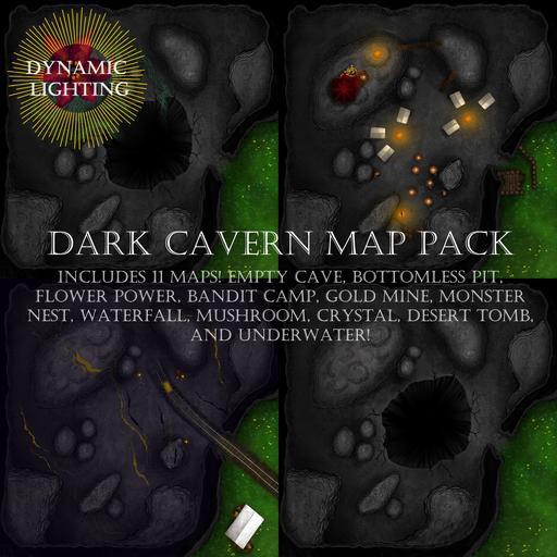 Dark Caverns Map Pack - Dynamic Lighting