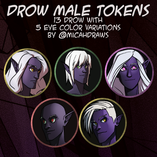 Drow Male Tokens Pack