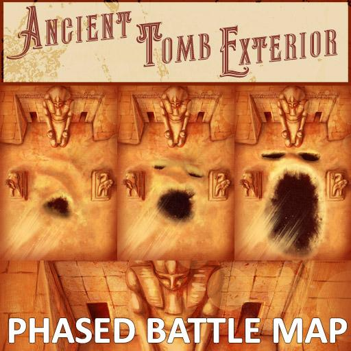 Ancient Tomb Exterior Phased Battle Map