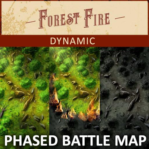 Forest Fire Dynamic Light Phased Battle Map