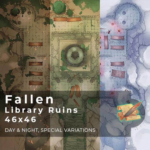 Fallen Library Ruins Battlemap