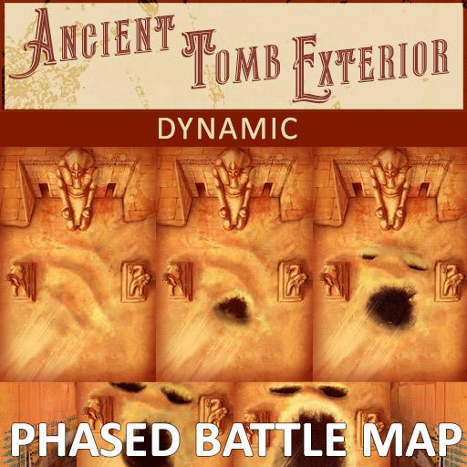 Ancient Tomb Exterior Phased Battle Map | Dynamic