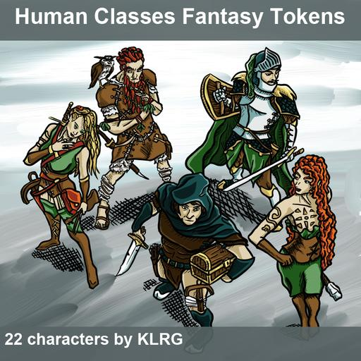 KLRG Token Pack 1 - Human Classes Fantasy