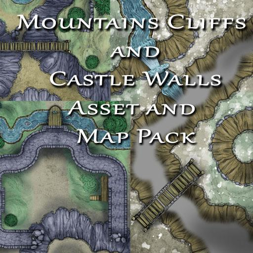 Mountains Cliffs and Castle Walls Asset and Map Pack