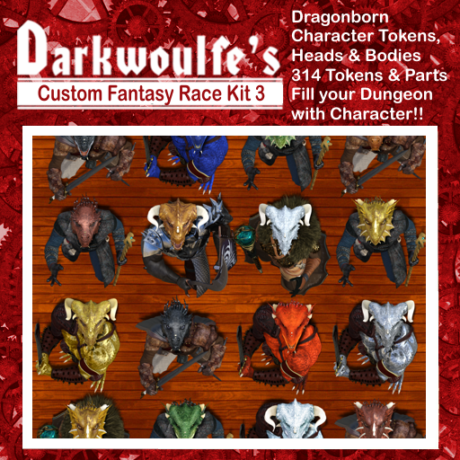 Darkwoulfe's Token Pack - Customizable Races Kit Pack 3 - The Dragonborn