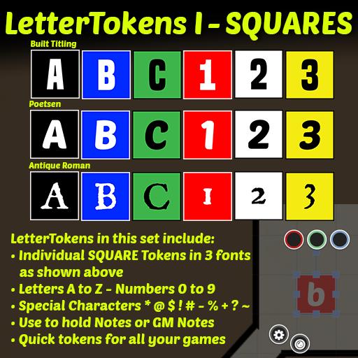 Letter Tokens I: SQUARES