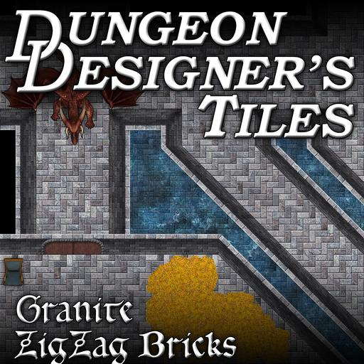 Dungeon Designers Tiles - Granite Zig Zag Bricks