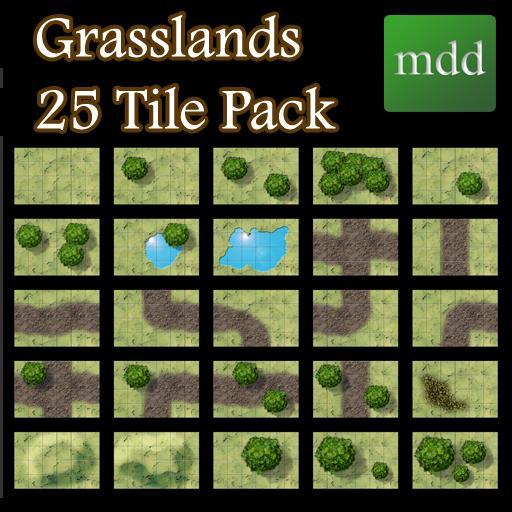 Grasslands 25 Tile Map Pack