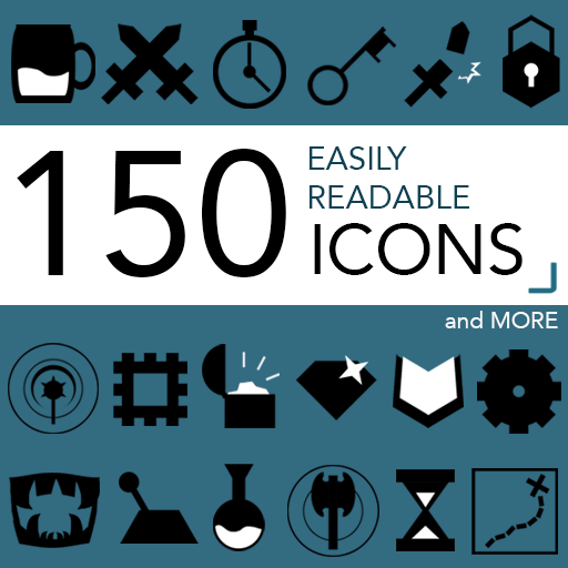 150 Easily Readable Icons