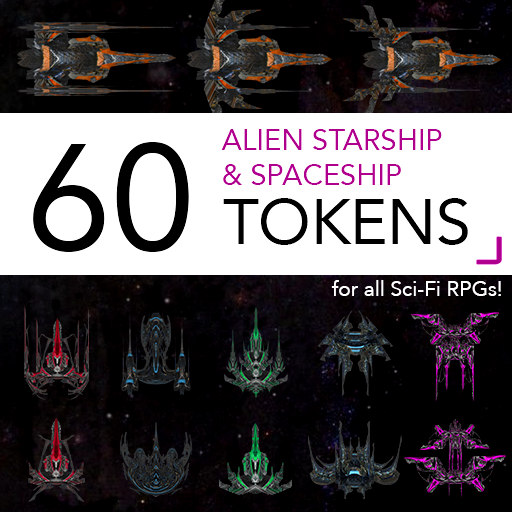 60 Alien Starships and Spaceships Tokens