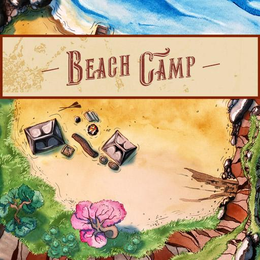 Beach Camp Battle Map (5 variations + horse, cart assets)