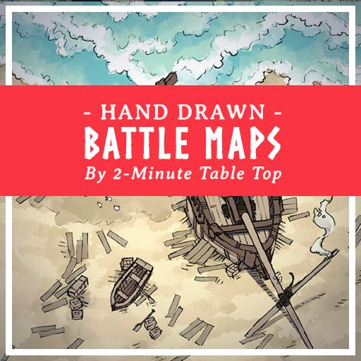 Hand-Drawn Beach & Sea Shore Battle Maps