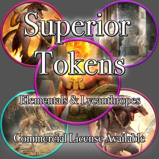 5E SRD Tokens - Elementals and Lycanthropes