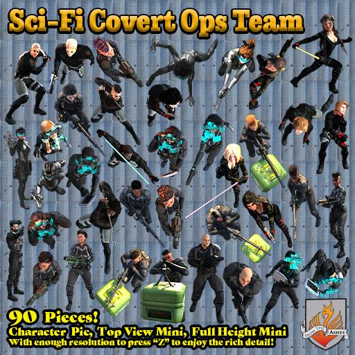 Sci-Fi Covert Ops Team, Top View
