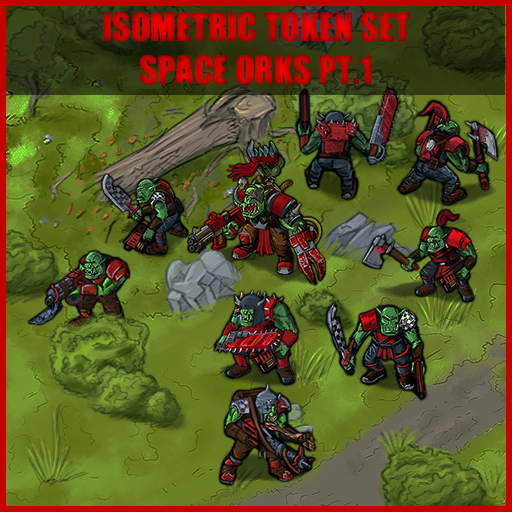 Isometric Token Set: Space Orks Pt.1