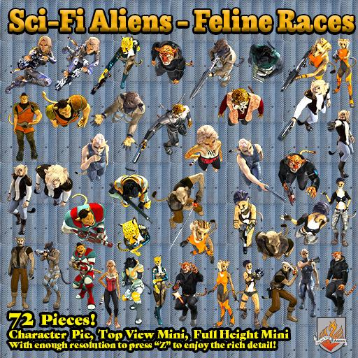 Sci-Fi Aliens – Feline Races, Top Down