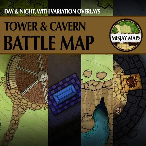 Tower & Cavern Battlemap