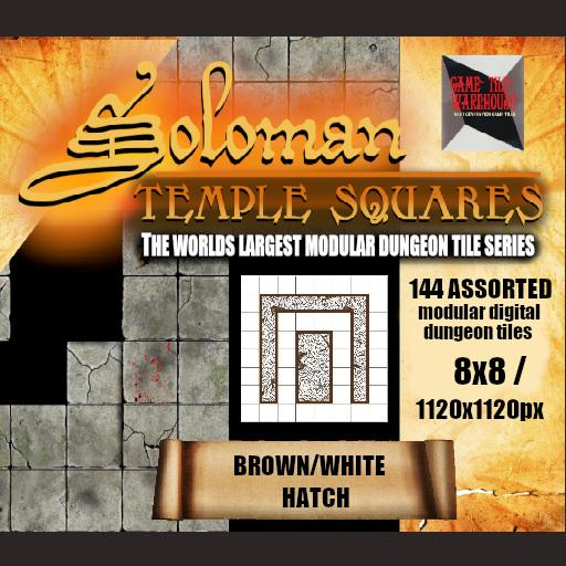 Soloman Temple Squares - BROWN/WHITE HATCH