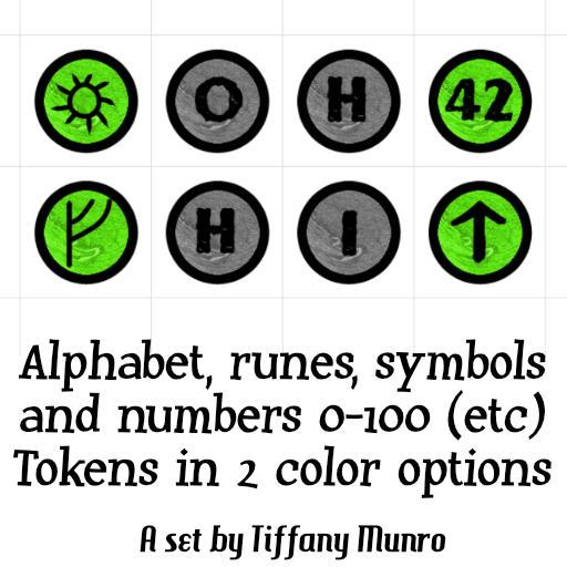 Green and Greyscale Numbers 0-100, A-Z Alphabet, Runes and Symbols Markers