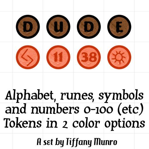 Red and Orange Numbers 0-100, Alphabet, Runes, and Symbols Map Markers