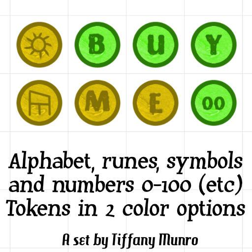 Lime and Yellow Numbers 0-100, Alphabet, Runes, and Symbols Map Marker Kit