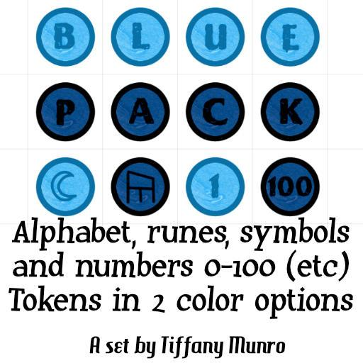 Ice Blue and Indigo Numbers 0-100, A-Z Alphabet, Runes and Symbols Markers