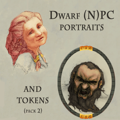 Dwarf (N)PC Portraits and Tokens Pack 2
