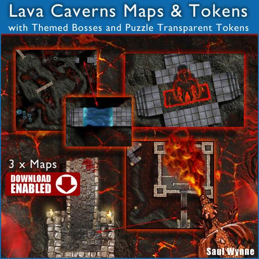 Lava Cavern Maps & Tokens