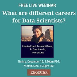 Free Live Webinar: What are different career options for a Data Scientist?