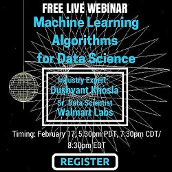 Free Live Webinar: Introduction to Machine Learning Algorithms for Data Science