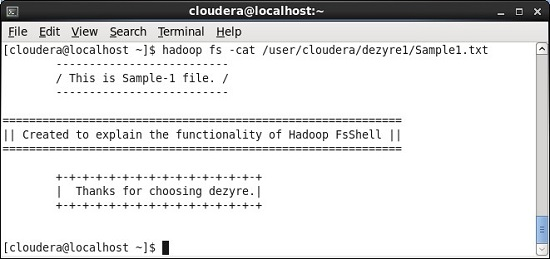 Hadoop fs cat Command